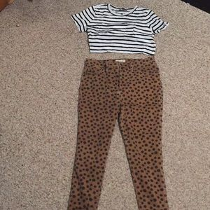 Madewell high waisted, polka dot jeans